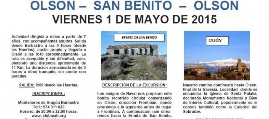 Senderismo infantil: 1 de mayo. Olsón-San Benito-Olsón