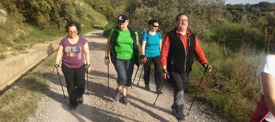 Marcha nórdica en el Día del senderista de Aragón